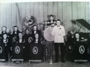 My Dad, Bill Magee, with his dance band.  He is sitting in the back row just to the right of his Sousaphone.